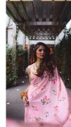 Blush Pink Floral Saree